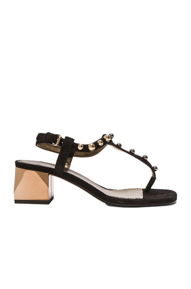 Lanvin Velvet Goatskin Chunky Sandals in Black