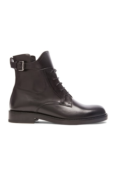 Lanvin Combat Leather Boots in Black