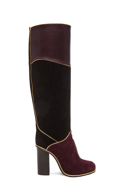 Lanvin Suede Calfskin Piping Boots in Black & Burgundy