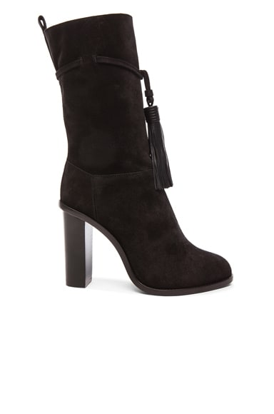 Lanvin Suede Tassel Boots in Black