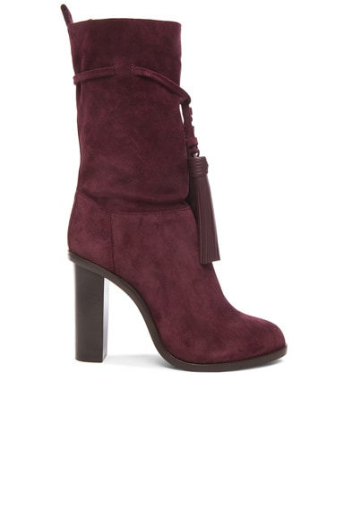 Lanvin Suede Tassel Boots in Raisin