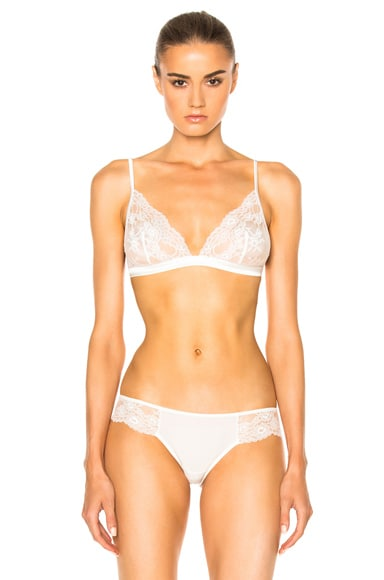 La Perla Airy Blooms Triangle Bra in White Milk