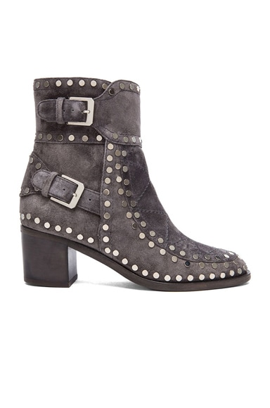 Laurence Dacade Gatsby Studded Booties in Grey & Silver