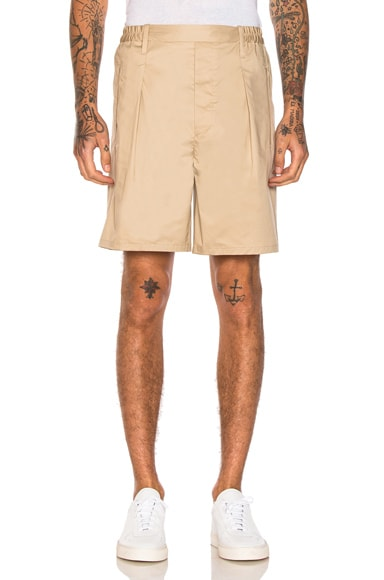 Lemaire Elasticated Waist Shorts in Khaki
