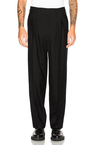 Lemaire Cotton Linen Carrot Trousers in Black