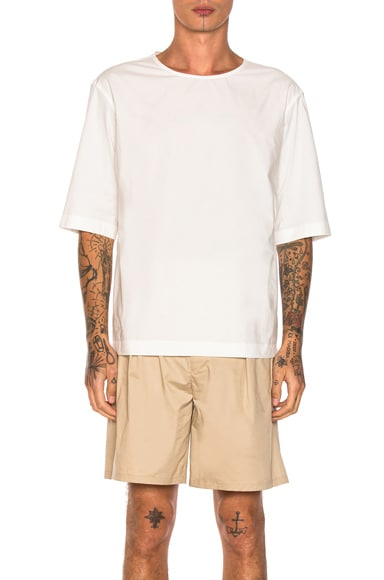 Lemaire Poplin Short Sleeve Shirt in White
