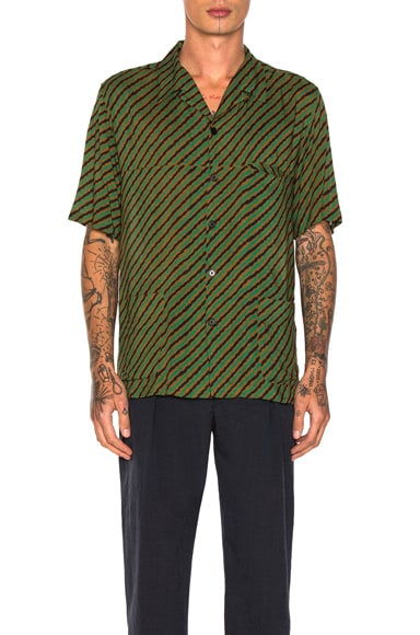 Lemaire Three Pocket Shirt in Tobacco & Green