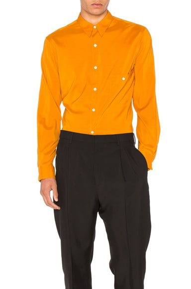 Lemaire Silk Pointed Collar Shirt in Curry