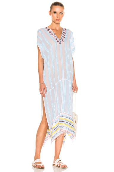 Lemlem Edna Embroidered Caftan in Sky