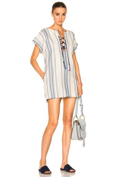 Lemlem Halima Lace Up Tunic in Blue