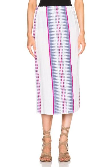 Lemlem Wubit Embroidered Skirt in Sky