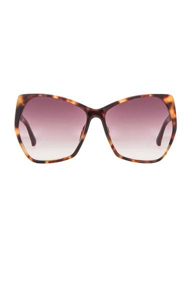 Linda Farrow Geometric Sunglasses in Tortoise