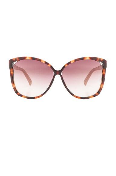 Linda Farrow Oversized Sunglasses in Mocha Tortoise