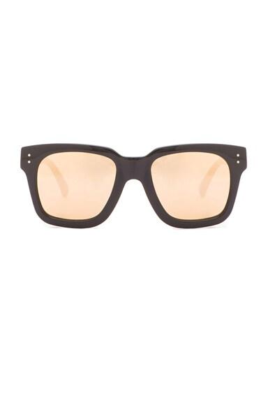 Linda Farrow D-Frame Sunglasses in Black & Gold