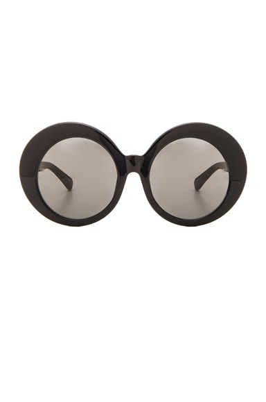 Linda Farrow Oversized Oval Sunglasses in Black