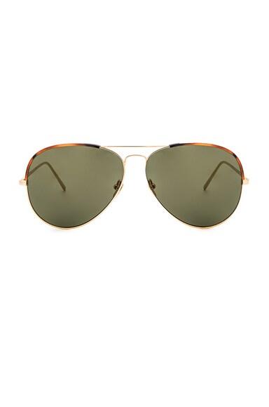 Linda Farrow Aviator Sunglasses in Tortoise & Yellow