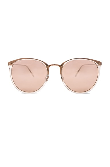 Linda Farrow Rounded Sunglasses in Ash Rose Gold