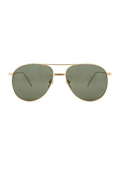 Linda Farrow Aviator Sunglasses in Yellow Gold & Green