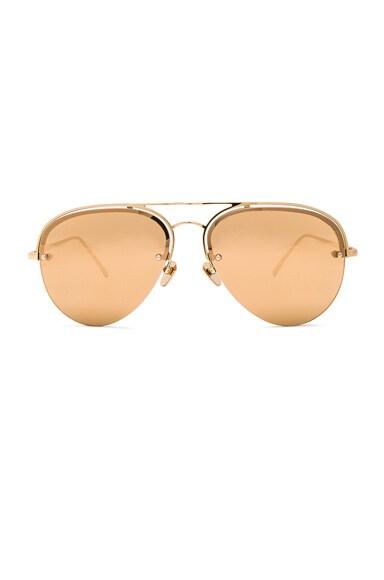 Linda Farrow Aviator Sunglasses in Yellow Gold