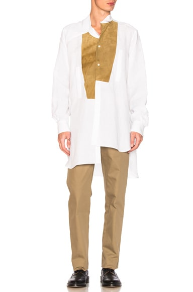 Loewe Leather Placket Shirt in Natural White