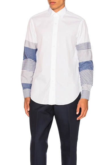 Loewe Patchwork Sleeve Shirt in Blue & White