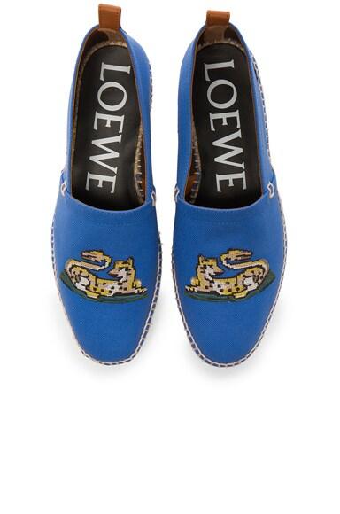 Loewe Tiger Embroidery Espadrilles in Blue
