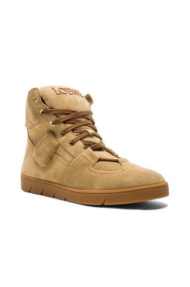 Loewe Suede High Sneakers in Gold