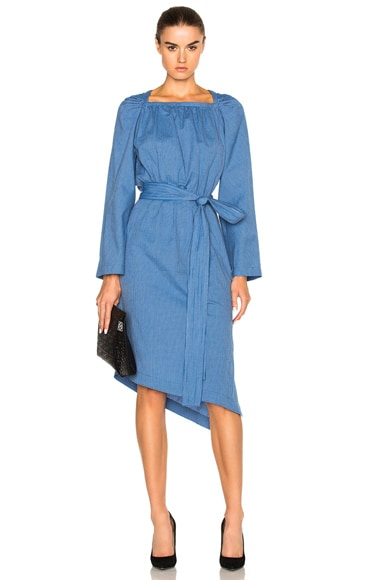 Loewe Square Collar Dress in Bright Blue