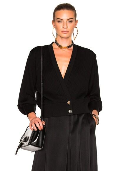 Loewe Cropped Pleated Cardigan in Black