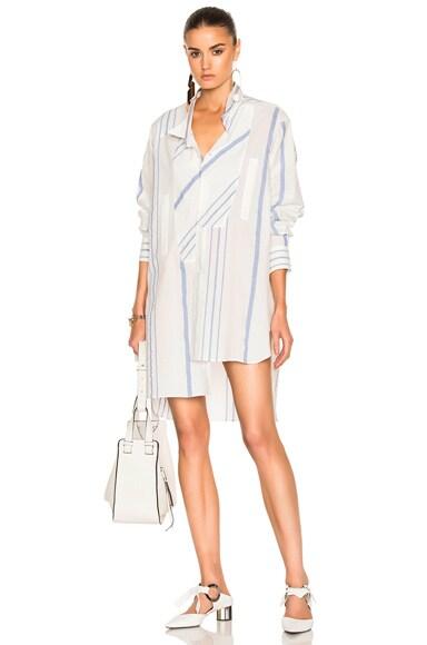 Loewe Asymmetric Striped Shirt in Off White & Blue