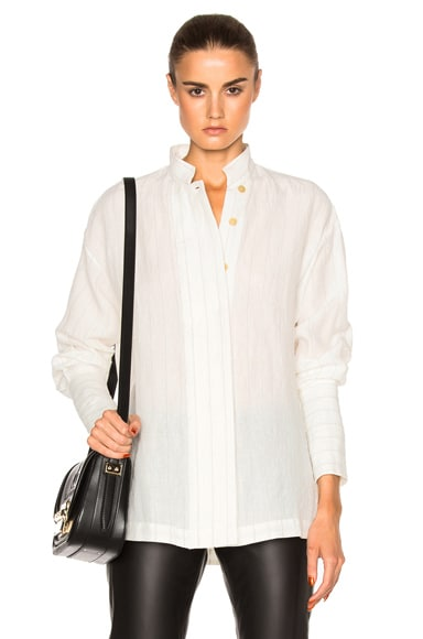 Loewe Striped Collar Top in White Ash