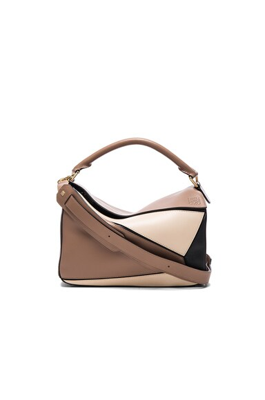 Loewe Puzzle Bag in Black & Hazelnut