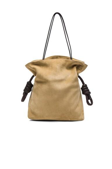 Loewe Flamenco Knot Suede Bag in Gold & Brown