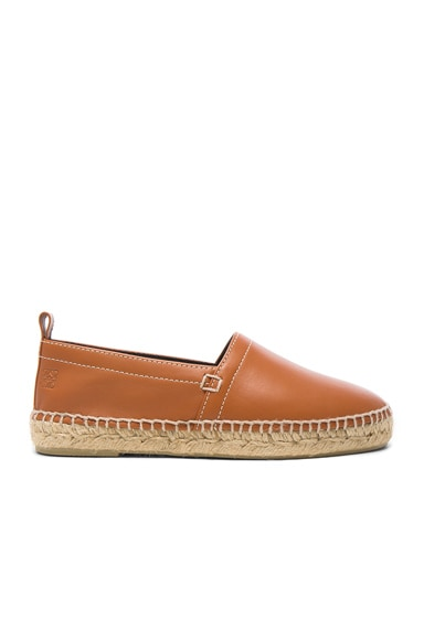 Loewe Contrast Stitching Leather Espadrilles in Tan
