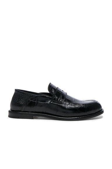 Croc Embossed Slip On Loafers