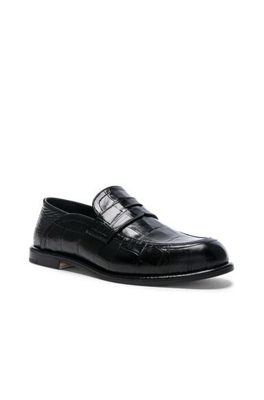Croc Embossed Slip On Loafers