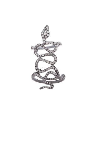 Loree Rodkin Skinny Pave Baby Snake Ring in Silver