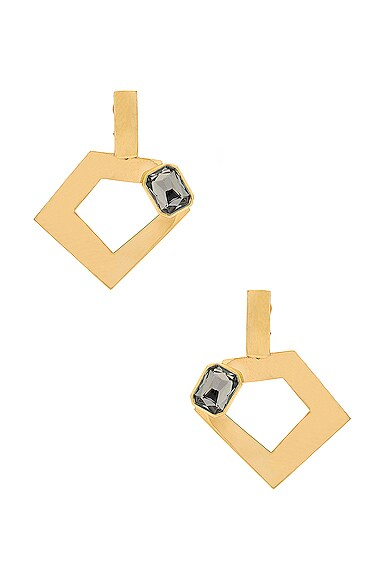WASSON x LPA for FWRD Penta Hoop Earrings with Crystal in Gold Plated