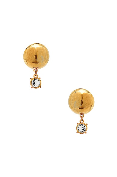 WASSON x LPA for FWRD Sphere Stud Earrings with Crystal in Gold Plated