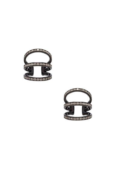 Lynn Ban Trilogy Ear Cuffs in Black Rhodium Silver & Grey Diamonds