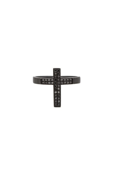 Pave Cross Tip Ring