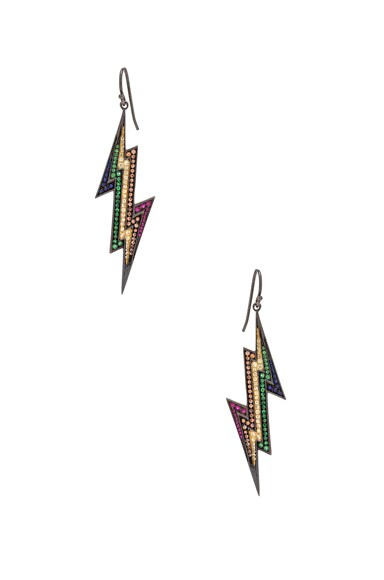 Lynn Ban Lightning Bolt Earrings in Black Rhodium Silver & Multi