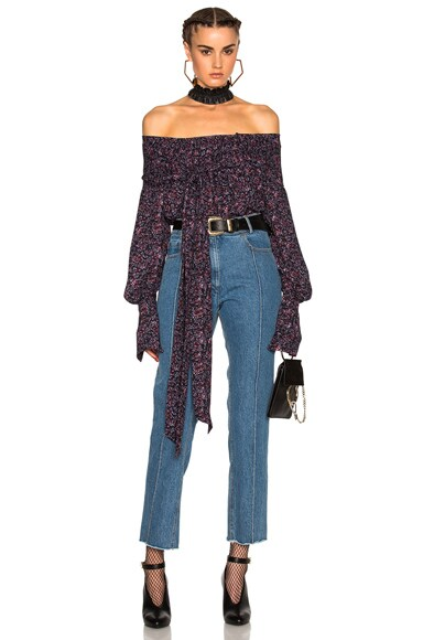 Magda Butrym Mons Top in Purple Floral