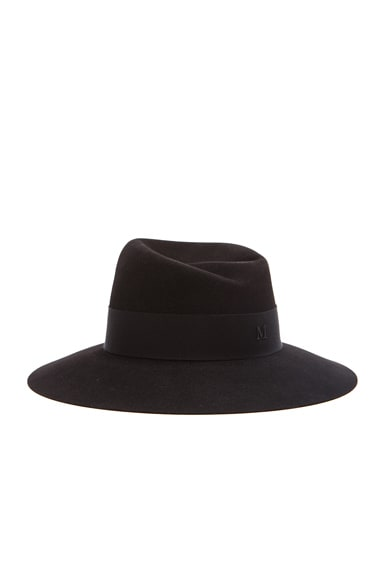 Maison Michel Virginie Large Brim Hat in Black