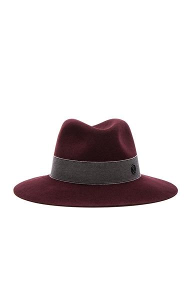 Maison Michel Henrietta Boyfriend Felt Hat in Rouge Noir