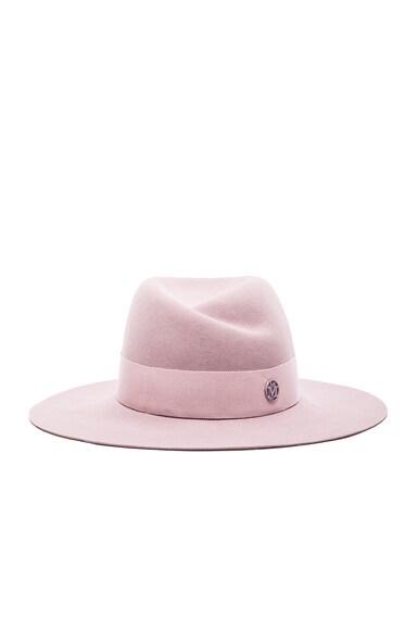 Maison Michel Virginie Large Brim Hat in Shadow Pink