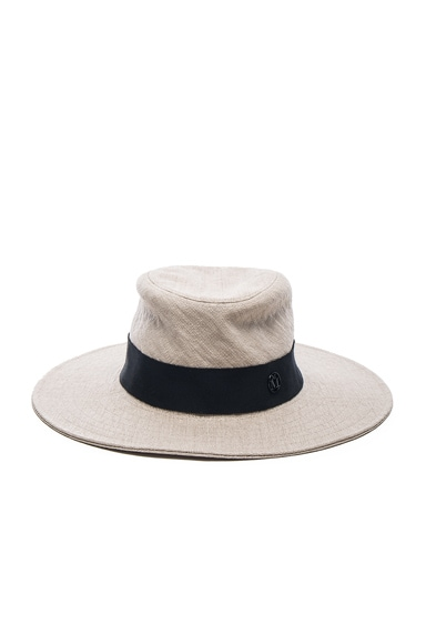 Maison Michel Charles Classic Trilby Straw Hat in Natural Black