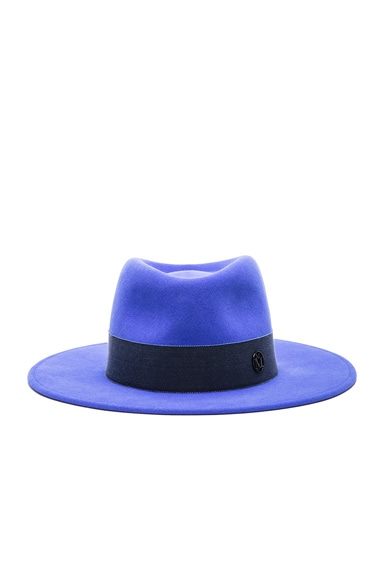 Maison Michel Thadee Classic Trilby Hat in Mediterranean Blue