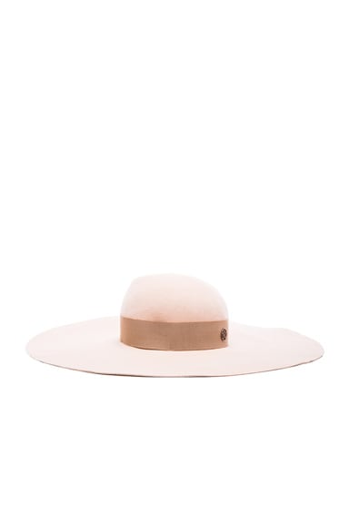 Maison Michel Lucia Wavy Large Brim Hat in Nude