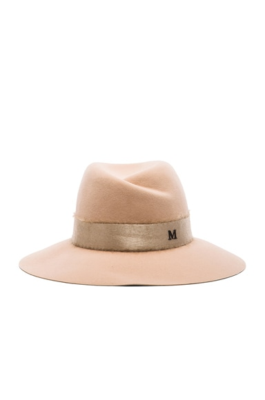 Maison Michel Virginie Hat with Mohair Ribbon in Almond